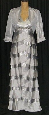 JESSICA HOWARD~Mother of the Bride~Long Formal Dress+Jacket~Size 4P~SILVER~NWT