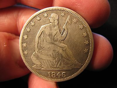 1846 (Tall Date) SEATED HALF DOLLAR **V.G.++** FREE SHIPPING!