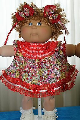 Cabbage Patch Doll Cloths- Red and white Dress-matching panties - 2 hair bows