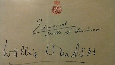 Duke And Duchess Of Windsor Signed Page. Edward The Eighth