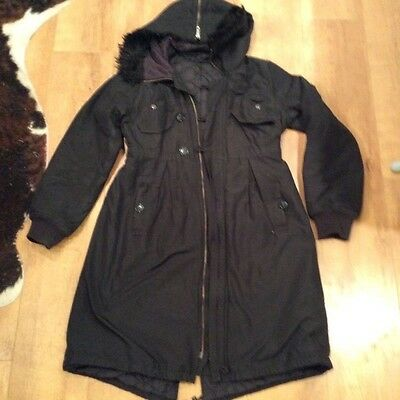 French Connection Ladies Long Length  Parka  - Black - Size 12