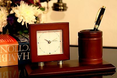 Office Desk Clock with Pen Holder Wooden Classical Business Gift Idea Home Decor