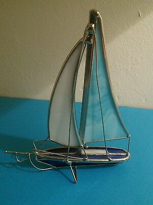 Stained glass ornament of yacht,small