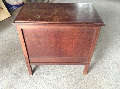Vintage wooden sewing table box with storage room and drawer compartment