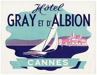 Hotel Gray et d'Albion CANNES luggage label Kofferaufkleber  x1038