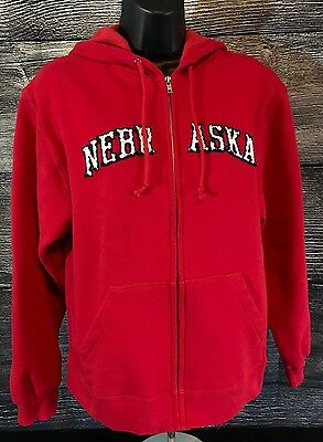 NEBRASKA Hoodie Red Zip up Hooded Sweatshirt Nebraska letters in White/Black - M