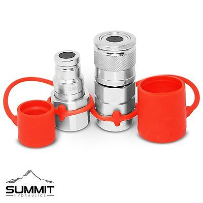 "3/8"" Flat Face Hydraulic Quick Connect Coupler / Coupling Set, 3/8"" NPT Thread"