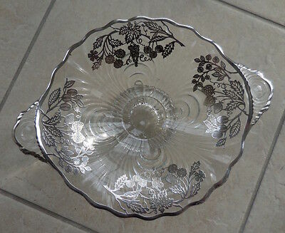 Victorian Glass Sterling Silver Overlay Floral Design Vintage Candy Dish