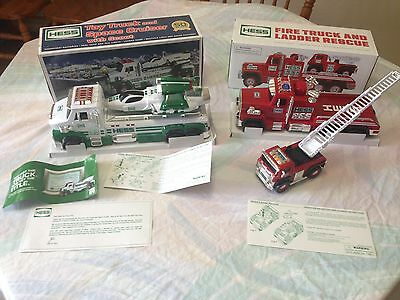2015 Hess Toy Truck Fire Ladder Rescue & 2014 Space Cruiser 50th Anniversary NEW