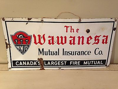 Antique Wawanessa Porcelain Sign Canada Fire Insurance Beaver