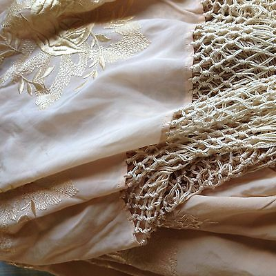 Antique French Silk Shawl - Pale Pink Silk - Floral Embroidery - 1920-30'