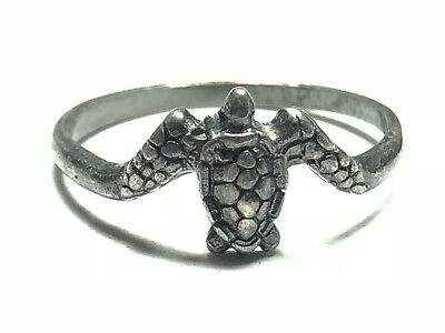 Cute Ladies Solid Sterling Silver Sea Turtle Ring - Sz 8.5 - Patina! - FREE S&H