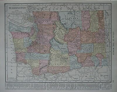 Original 1915 Electric Railroad Map WASHINGTON Indian Reservations Seattle Pasco