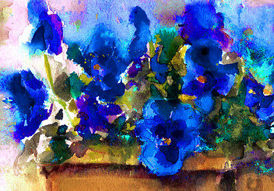 Blue Pansies in Basket Signed Giclee Art Print of Watercolor painting 8 x 10
