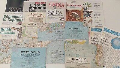 LOT (20) National Geographic Vintage Maps 1950s, 1960s, 1970s, 1990s