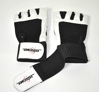 Beast Leather Weight Lifting Gym Body Building Gloves Straps WHITE XLARGE