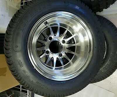 "GOLF CART 10"" MACHINED/BLACK MEDUSA WHEELS/RIMS and 205/50-10 DOT LOW PRO TIRES"