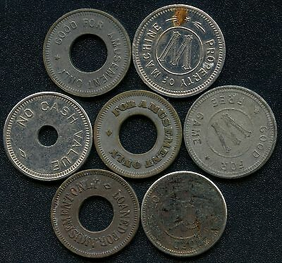 Group Of 7 Vintage Gaming Amusment Coin Tokens