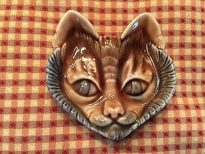 """Vintage CAT 3"""" Porcelain plaque face, made by WADE, England"""