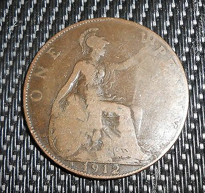 Nice Great Briatin 1912 H Penny Coin
