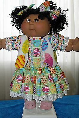 Cabbage Patch Doll Cloths- Easter Egg dress-matching panties - 2 hair bows-vest