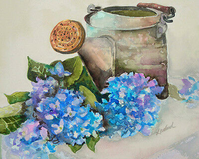 Blue Hydranges Watering Can Signed Giclee Art Print of watercolor painting 10x8