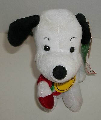 """2009 Dan Dee Peanuts Snoopy with Candy Cane 7"""" Plush Christmas NWT"""