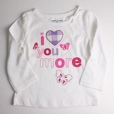 Faded Glory Girls Toddler I Love You More White Shirt Top  Size  3T Nwt