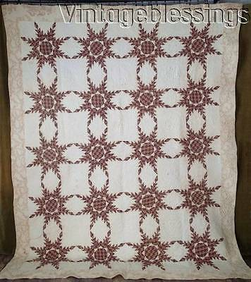 """EARLY PA Pre Civil War c1840 Feathered Star + Toile Antique QUILT 100x81"""""""