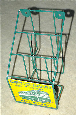 GREEN LINE COACHES LEAFLET RACK from a coach station showing a 1965 RC AEC coach