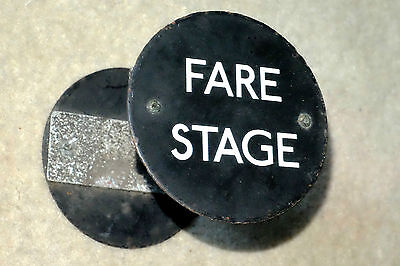 """LONDON TRANSPORT 1960s BUS STOP """" FARE STAGE """" circular double-sided sign /badge"""