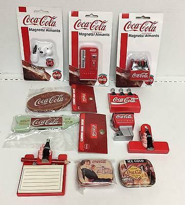 Lot od 11 Coca Cola Magnets Pill Boxes Memo Pad with Pencil Removable Bottles