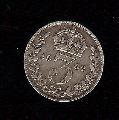 Silver .925 3 Pence - Edward VII 3d PENCE BRITISH 7th COIN