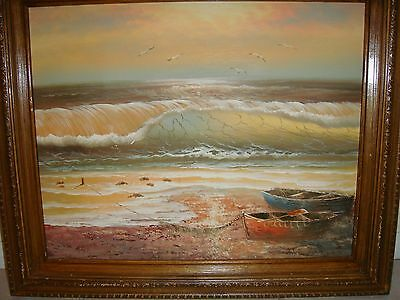 Original oil painting on canvas  Sunset waves