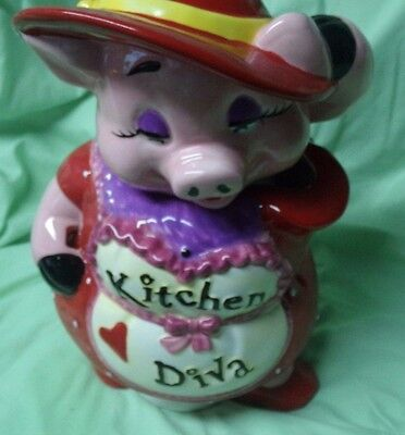 Vintage Mercuries Kitchen Diva Cookie Jar/Pink Pig with Red Hearts/VGC