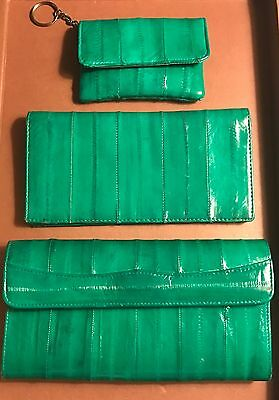 Vintage Green Eel Skin Wallet, Checkbook Holder, Coin Purse