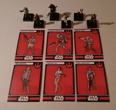 Star Wars Miniatures 2007 Alliance & Empire REBEL FIGURES with Cards Set of 6