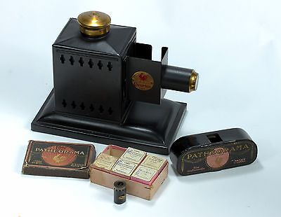 Pathe Cocorico Projector in Original Box + Patheorama Viewer + Boxed Filmstrips