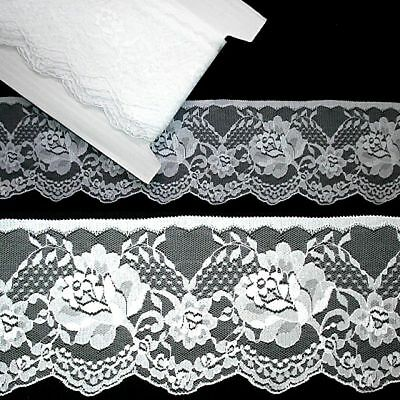 Flat Lace White  90mm wide (020) 6 meters