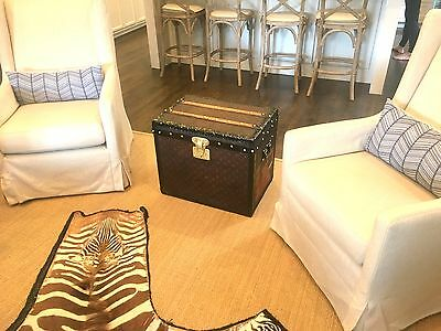 Fantastic Antique Louis Vuitton CUBE Steamer Trunk 1890s End Coffee Side Table