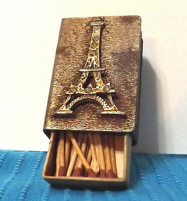 Eiffel Tower Match Box  Metal SLEEVE with BALSA Wood Container