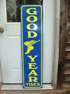 New! Goodyear Tires Early Yellow/blue Style 1'x4' Metal Dealer Sign W/logo