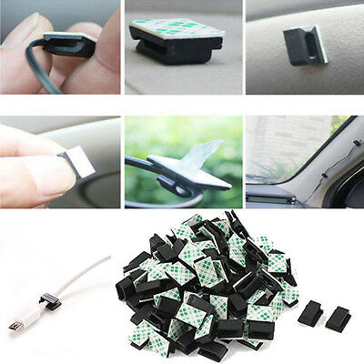 30Pcs Car Wire Cord Clip Cable Holder Tie Fixer Organizer Adhesive Clamp