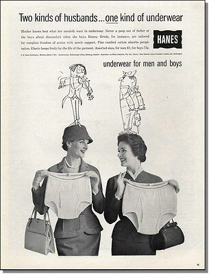 1959 Two women discuss husbands' underwear, vintage Hanes print-ad