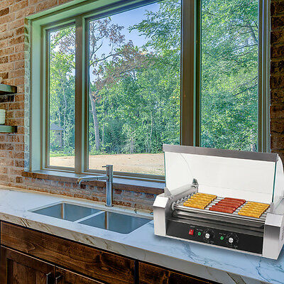 Stainless Steel Commercial 18 Hotdogs 7 Rollers Grill Cooker Machine W / Cover