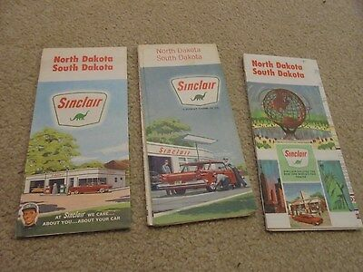 Vintage Lot of Three North  and South Dakota Road Maps Sinclair Gas and Oil