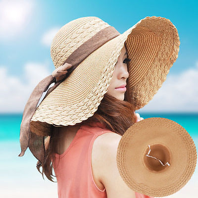 New Wide Large Brim Floppy Straw Cap Summer Beach Sun Hat with Big Bow For Women