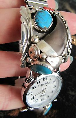 Native American Navajo Turquoise Bear Claw Watch 925 Silver / or Cuff Bracelet