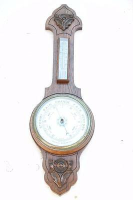 "Antique 19th Century Carved Oak Aneroid 32"" Banjo Barometer & Thermometer No Res"