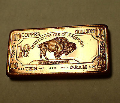 10 Gram 999 Fine Copper Bullion Bar Buffalo Design